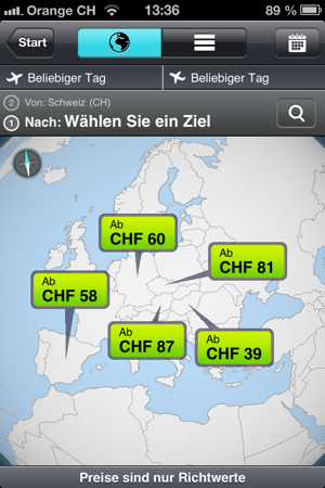 Skyscanner iapp screenshot